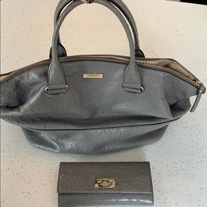 Gray satchel Kate Spade purse with matching wallet